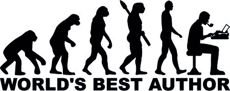 Evolution of worlds best male author with typewriter.