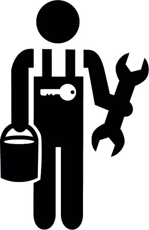 Janitor pictogram black and white with tools and toolbox.