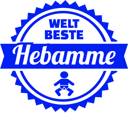 German emblem for worlds best midwife with baby illustration.
