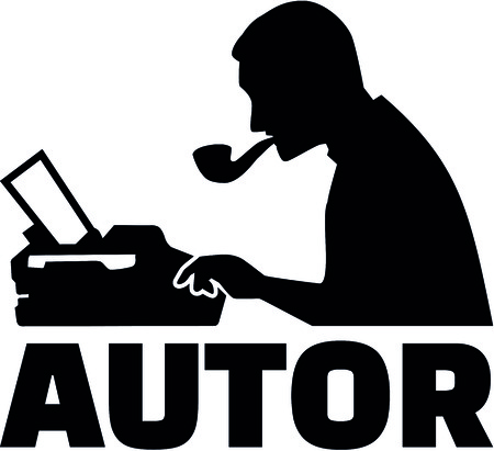 Silhouette of a male writer with typewriter and German job title author.