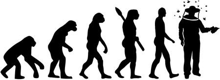 Evolutie van een imker met de illustratie van het imkersilhouet.