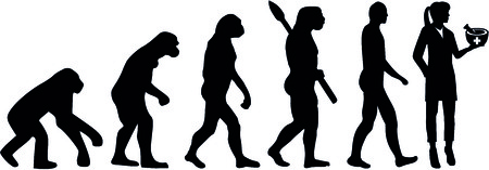 Evolution of a female pharmacist with mortar and pestle.