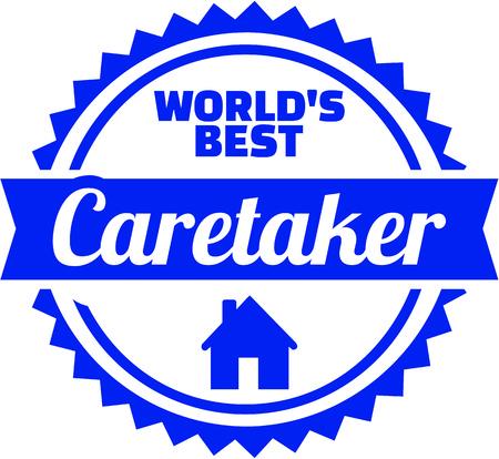 Emblem for worlds best caretaker illustration.