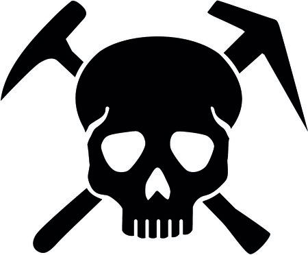 Skull with crossed roofing tools illustration. Stock Illustratie
