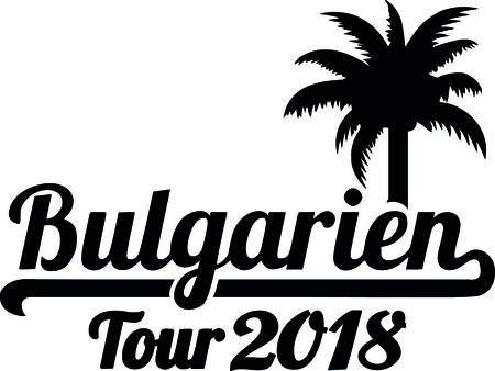 German words for Bulgaria tour 2018 and palm tree illustration. Illustration