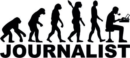 タイプライターを持つ男性ジャーナリストの進化