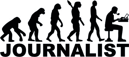 Evolution of a male journalist with typewriter Illustration