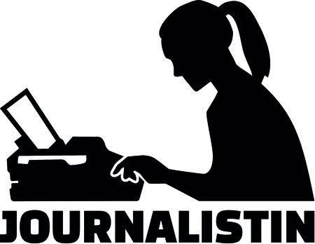 ドイツの肩書きとタイプライターを持つ女性ジャーナリストのシルエット