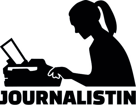 Silhouette of a female journalist with german job title and typewriter