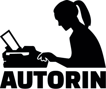 Silhouette of a female writer with typewriter and german job title author