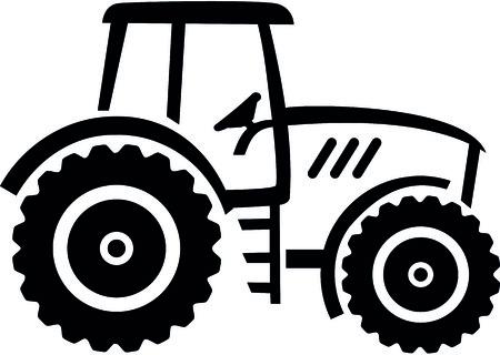 White farmer tractor drawn