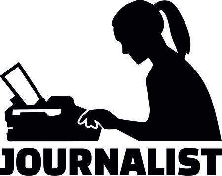 役職とタイプライターを持つ女性ジャーナリストのシルエット