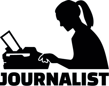 Silhouette of a female journalist with job title and typewriter Illustration