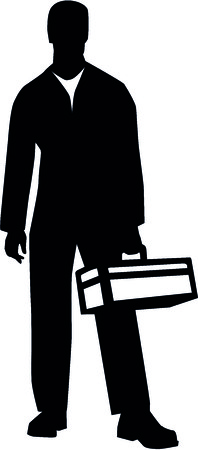 Silhouette of a janitor with toolbox Standard-Bild - 93083811
