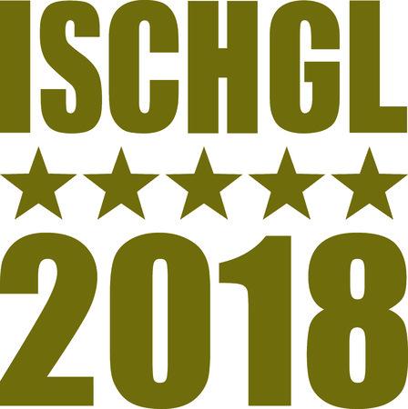 Ischgl 2018 with golden stars.