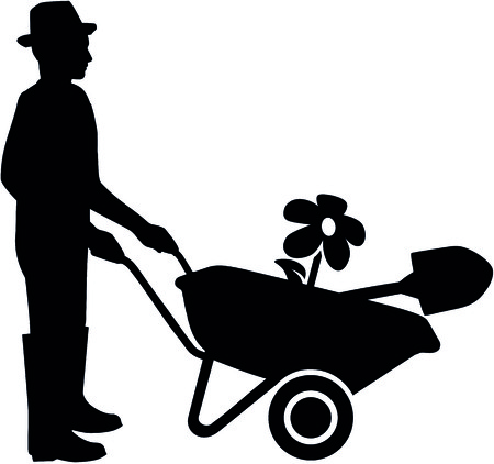Silhouette of a gardener with wheelbarrow in black and white. 矢量图像
