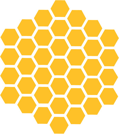 Bee honeycomb with honey in a hexagon.