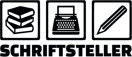 Icons for writer with books, typewriter and pencil and male German job title.