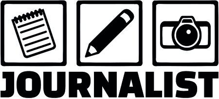 メモ帳、ペンとカメラと男性の肩書きを持つジャーナリストのためのアイコン。