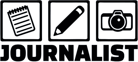 Icons for journalist with notepad, pen and camera and male job title. Illustration