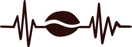 커피 콩 갈색 하트 비트 펄스 라인 스톡 콘텐츠 - 94520022
