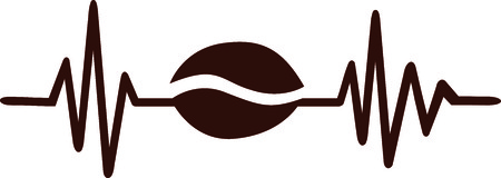 Heartbeat pulse line met bruine koffieboon