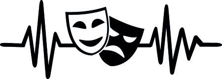 Teatro a battito cardiaco con maschere in bianco e nero Archivio Fotografico - 94520263