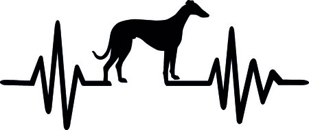 Heartbeat pulse line dog with greyhound silhouette black