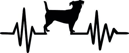Herzschlagimpulslinie Hund mit Steckfassungsrussel-Schattenbildschwarzem.