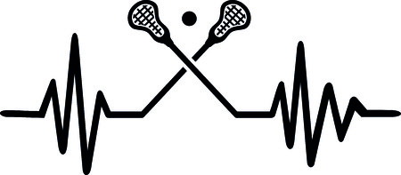 Heartbeat pulse line with two crossed lacrosse sticks and a ball