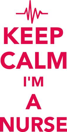 Mantenha a calma Eu sou uma enfermeira com linha de batimentos cardíacos vermelha Foto de archivo - 94520275