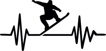 Heartbeat pulse line with snowboarder doing a trick and word Illustration
