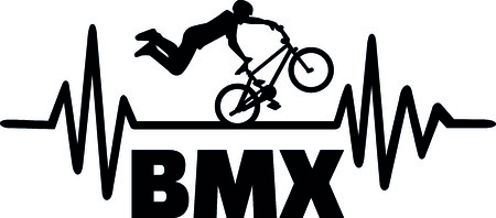 Heartbeat pulse line with BMX stuntman