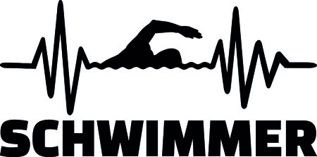 Heartbeat pulse line with swimmer using front crawl swimming technique  Stock Illustratie