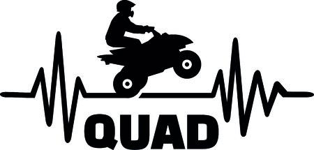 Heartbeat pulse line quad with stunt driver. Vetores