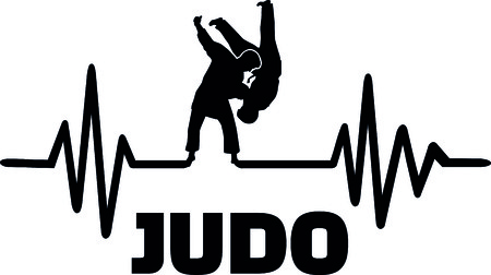 Heartbeat pulse line with two fighting judoka  Vectores
