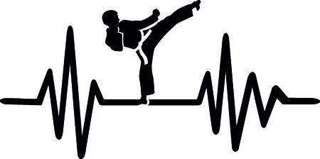 Heartbeat pulse line with karateka doing a karate chop