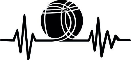 Linha de batimento cardíaco com bola de petanca e boule.