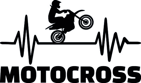 Heartbeat pulse line with motocross stunt driver