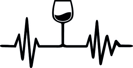Heartbeat pulse line wine with wine glass Illustration