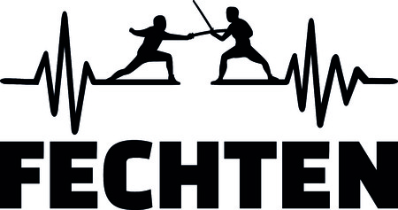 Heartbeat pulse line with two fencer Illustration