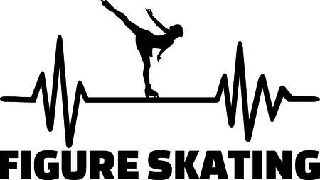 Herzschlag-Pulslinie mit Eiskunstläuferin auf Eis