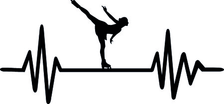 Heartbeat pulse line with female figure skater on ice Illustration