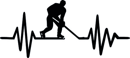 Heartbeat pulse line with ice hockey player and german word