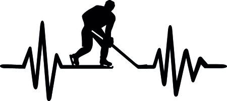 Hartslag pulse lijn met ijshockeyspeler en Duits woord Stock Illustratie