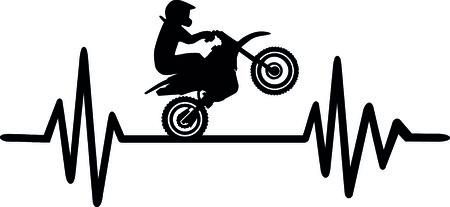 モトクロススタントドライバーと単語とハートビートパルスライン