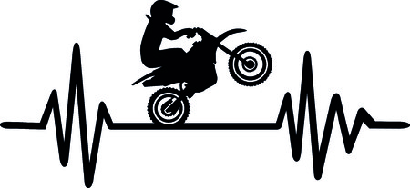 Heartbeat pulse line with motocross stunt driver and word