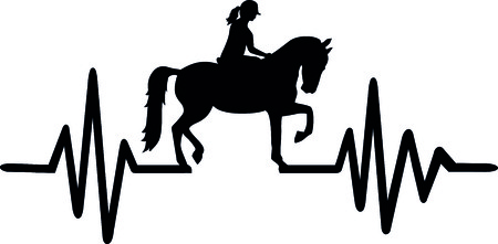 Heartbeat pulse line with horse, equestrian and german word Vectores