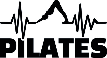 Heartbeat pulse line pilates with silhouette Illustration