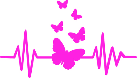 Heartbeat pulse line pink with butterfly swarm Illustration